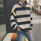 Striped High-neck Pullover
