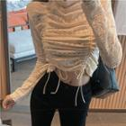 Lace Drawstring Long-sleeve Top