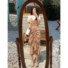 Drawstring Floral Maxi Pinafore Dress