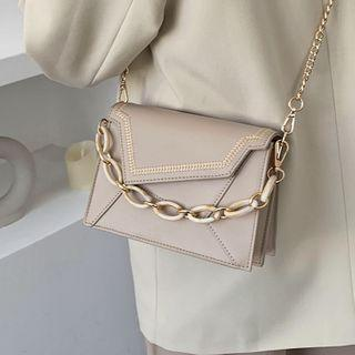 Panel Faux Leather Chained Shoulder Bag