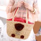Bear Accent Straw Bag Beige - One Size