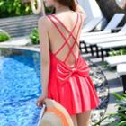 Bow Strappy Frill Trim Swimdress