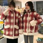 Plaid Faux Fur Trim Snap-button Jacket