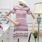 Striped Knit Dress Stripe - Pink - One Size
