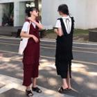 Plain Ruffle Open-back Sleeveless Dress