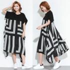 Short-sleeve Patterned Midi Dress Black - One Size