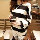 Lace Applique Striped Long-sleeve T-shirt
