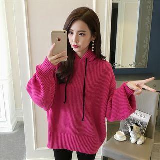 Lantern-sleeve Hooded Sweater