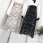 Floral A-line Midi Chiffon Skirt