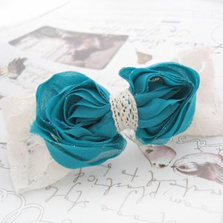 Sparkle Lace And Chiffon Bow Hair Pin -blue One Size