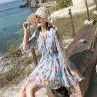 3/4-sleeve Floral Mini Chiffon Dress