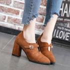 Belted Chunky Heel Pumps