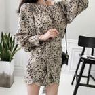 Puff-sleeve Leopard Print Mini Wrap Dress