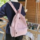 Letter Plaid Canvas Backpack