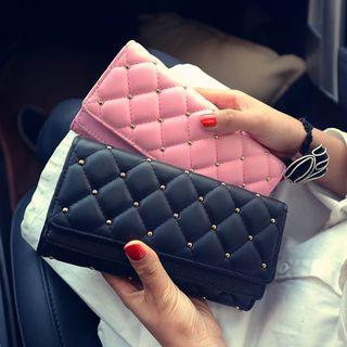 Faux Leather Quilted Long Wallet