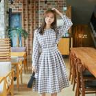 Plaid-check A-line Shirtdress / Long-sleeve / Midi Dress