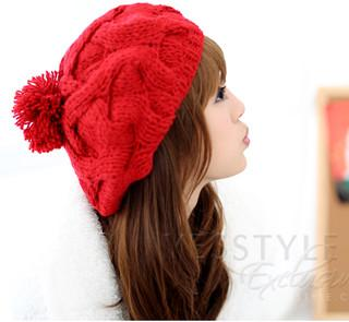 Cable-knit Beret Red - One Size