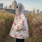 Faux Fur Hooded Letter Padded Coat