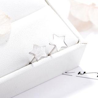 925 Sterling Silver Star Stud Earrings 925 Silver - One Size
