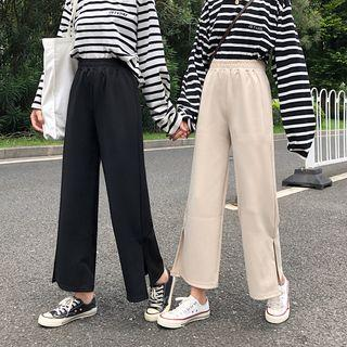 Side-split High-waist Wide-leg Pants