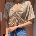 Drawstring-front Floral Top In 4 Colors
