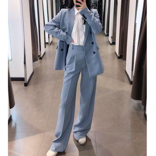 Double-breasted Blazer / Straight Leg Pants