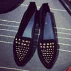 Faux-leather Studded Flats