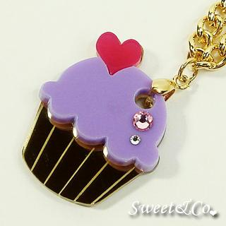 Mini Purple Cupcake Crystal Gold Necklace