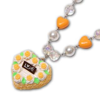Neon Orange Rose Heart Shape Cake Necklace