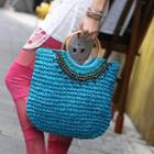 Beaded Straw Tote Blue - One Size