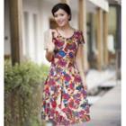 Short-sleeve Floral Dress