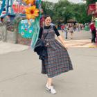 Smocked Plaid Long Pinafore Dress