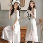 Set: Printed Elbow-sleeve Chiffon Dress + Spaghetti Strap Dress