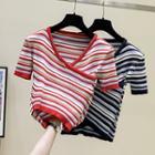 Short-sleeve Striped Crisscross Knit Top