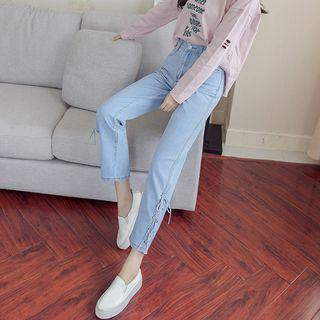 Lace-up Straight Cut Jeans