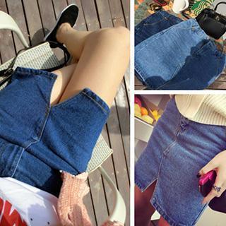 Slit Denim Pencil Skirt