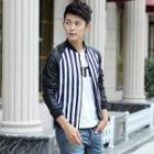 Striped Raglan-sleeve Zip Jacket