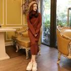 Turtleneck Plain Knit Maxi Dress