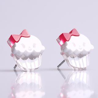 Miss Cupcake White Stud Silver Earrings