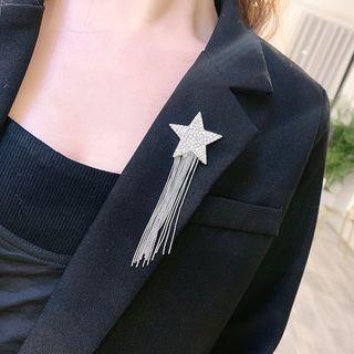 Rhinestone Star Fringed Earring Silver - One Size