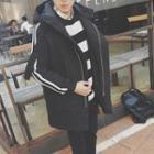 Stripe Hooded Padded Coat