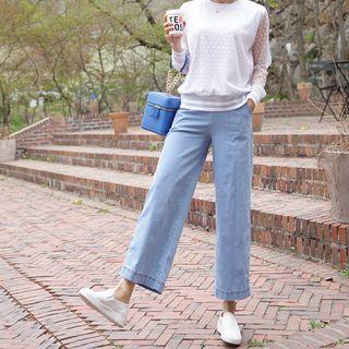 Smocked-waist Wide-fit Denim Pants