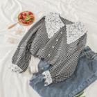 Lace Panel Gingham Blouse As Shown In Figure - One Size