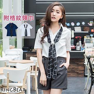 Inset Scarf Short Sleeve Shirt
