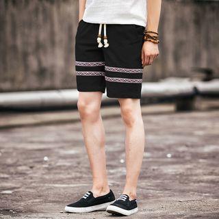 Applique Drawstring Shorts
