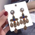 Faux Pearl Alloy Coin & Cross Dangle Earring Gold - One Size