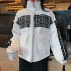 Long-sleeve Tweed Panel Padded Coat