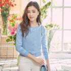 Flower Embellished Knit Top