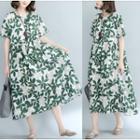 Short-sleeve Shirred Patterned Midi Dress