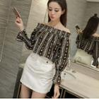 Patterned Off Shoulder Long Sleeve Chiffon Top